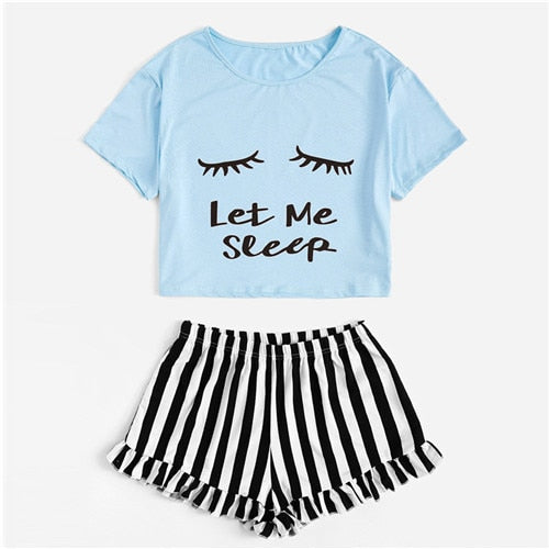 Graphic Tee & Frilled Striped Shorts PJ Set