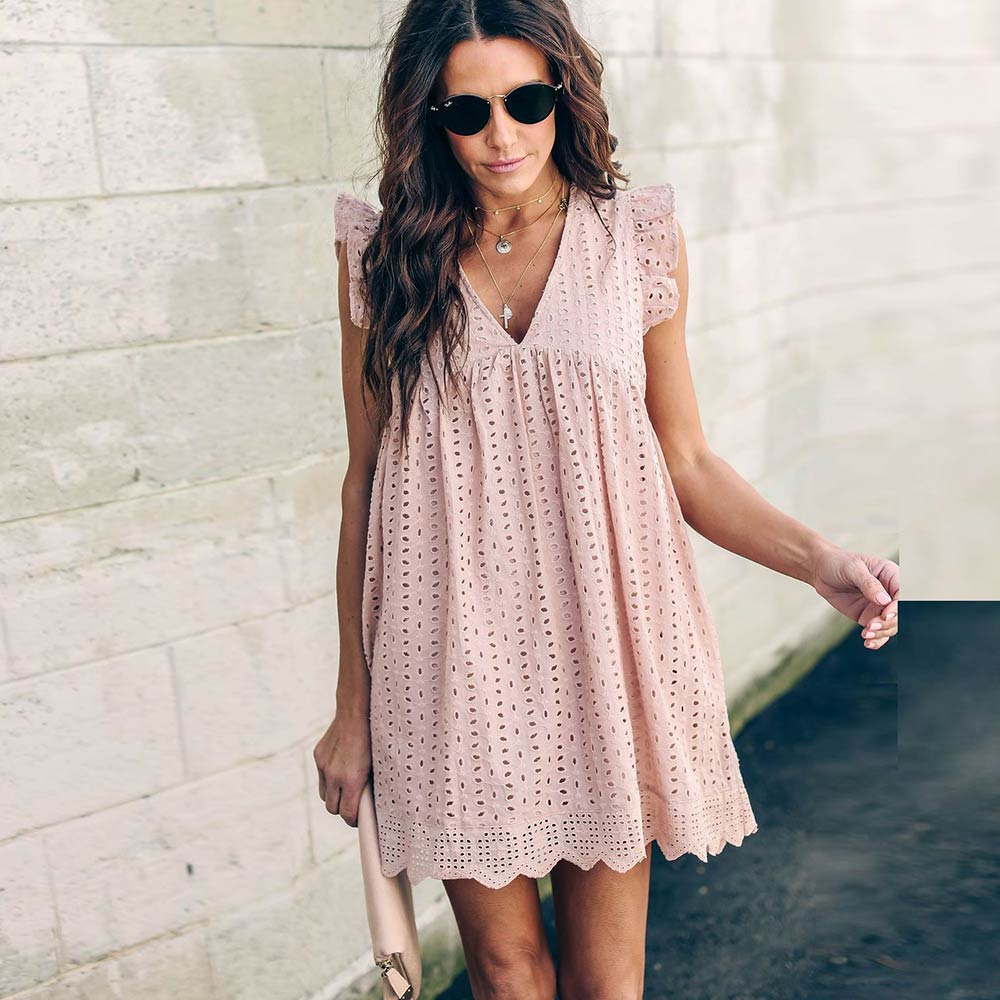 Lace Embroidery Ruffle Sleeve Causal Hollow Out  Pink Cotton Mini Dress