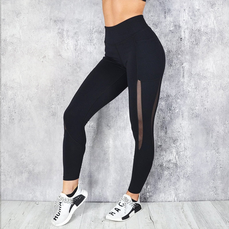 Yoga Leggings Mesh Stitching Fitness Workout Pencil Pant