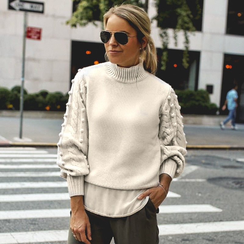 White Knitted Lantern Sleeve Oversized Sweater