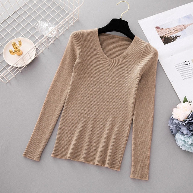 Autumn V Neck Knitted Sweater