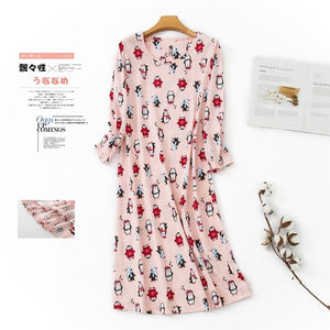 Fresh cartoon long nightgowns elastic cotton sleepwear