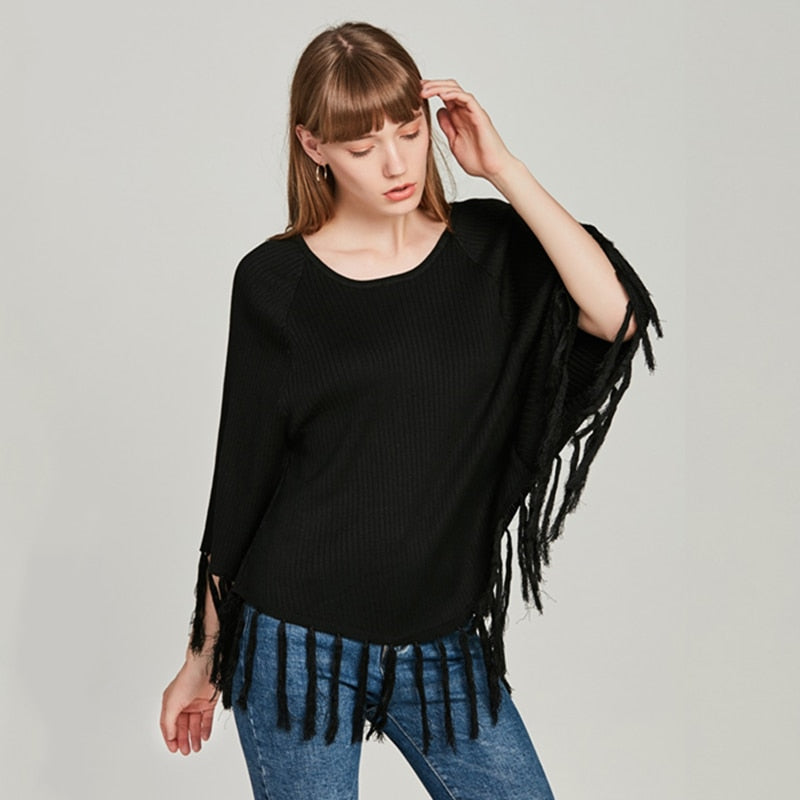 Casual O-Neck Pullovers Sweaters Batwing Sleeve Tassel Solid Sweater