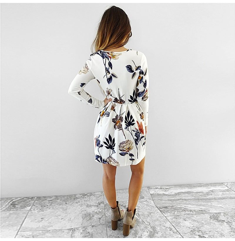 Casual Polyester Bohemian Long Sleeve O Neck Mini Pleated Dress