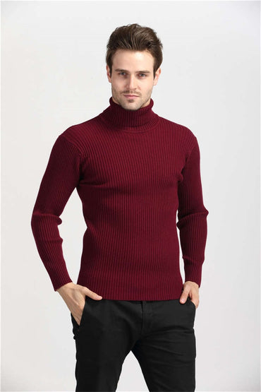 Warm Cashmere Slim Fit Pullover Men Classic Wool Knitwear Sweaters