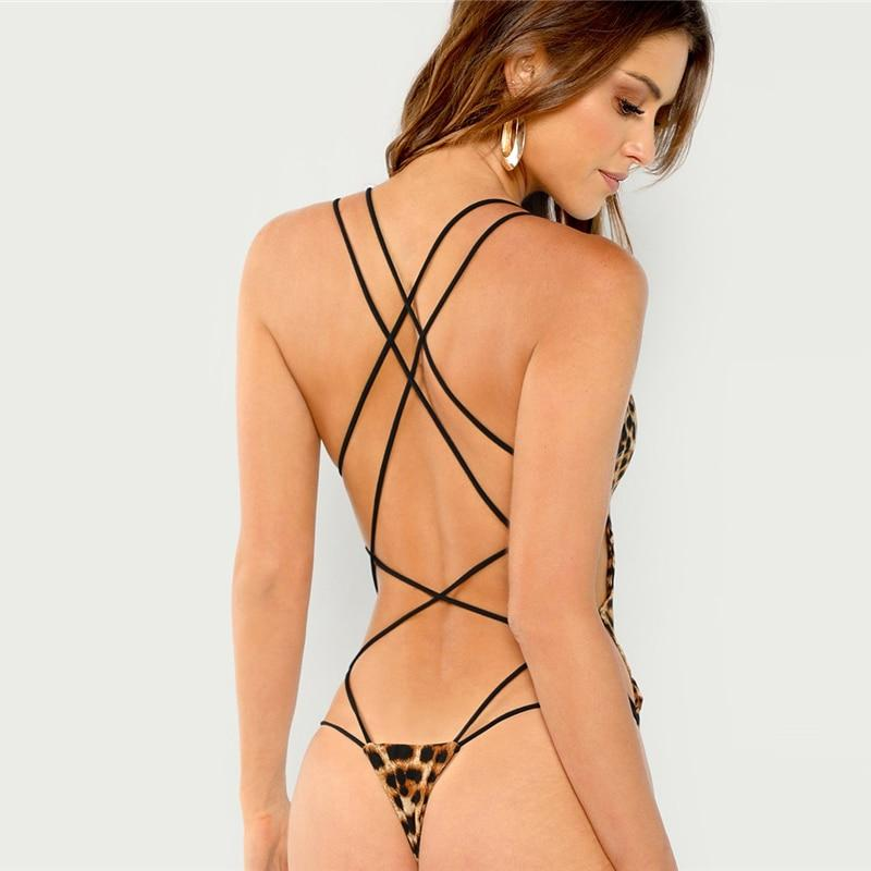 Strappy Backless Women Black Sleeveless Beach Bodysuits