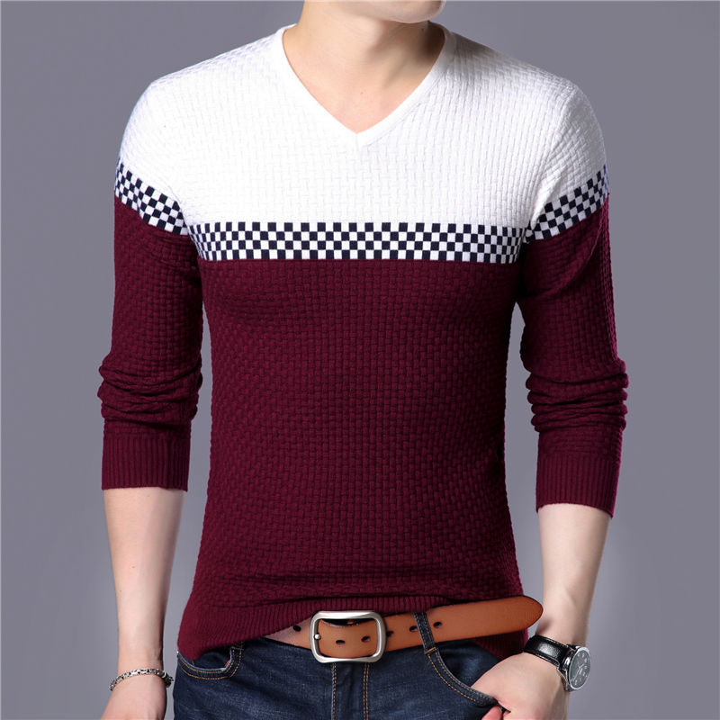 Casual Color Patchwork V-neck Pullover Men Slim Fit Cotton Sweater