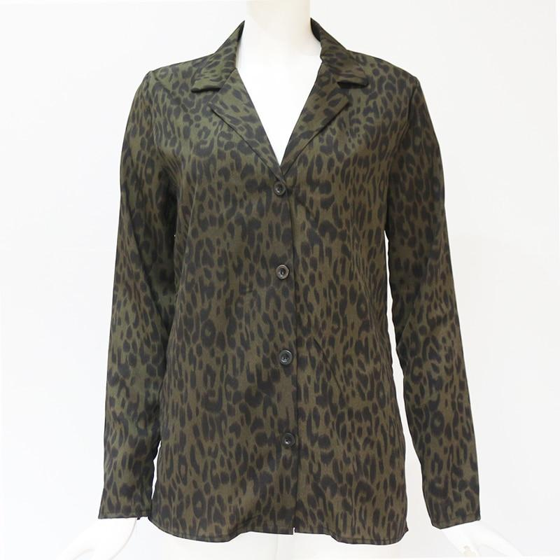 Leopard Blouse Long Sleeve Turn Down Collar Lady Office Shirt