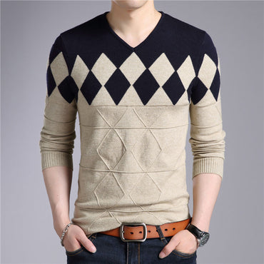 Cashmere Wool Slim Fit Pullovers Men Argyle Pattern Sweater