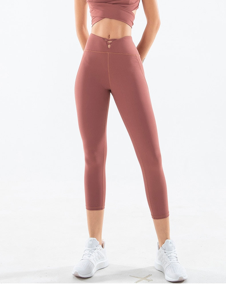 Anti-sweat High Waist Sport Workout Tight Plain Soft Nylon Yoga Pant