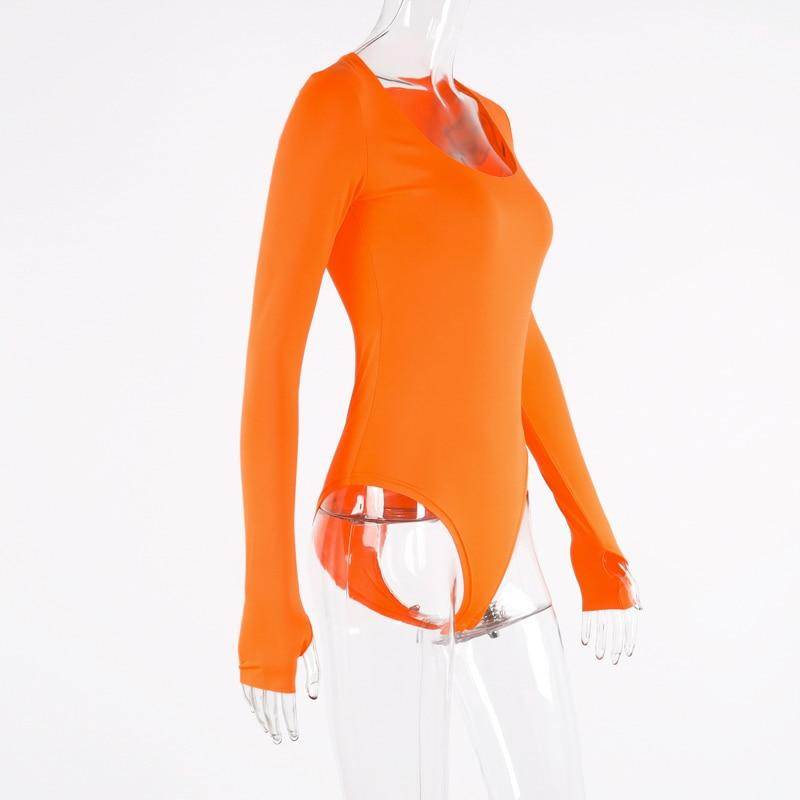 neon orange bodycon sexy party outfits bodysuit