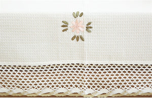 Flowers Tablecloth White Hollow Lace Cotton Linen Table cloth
