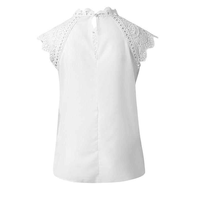 Blouses Lace Patchwork Sleeveless Solid Shirt
