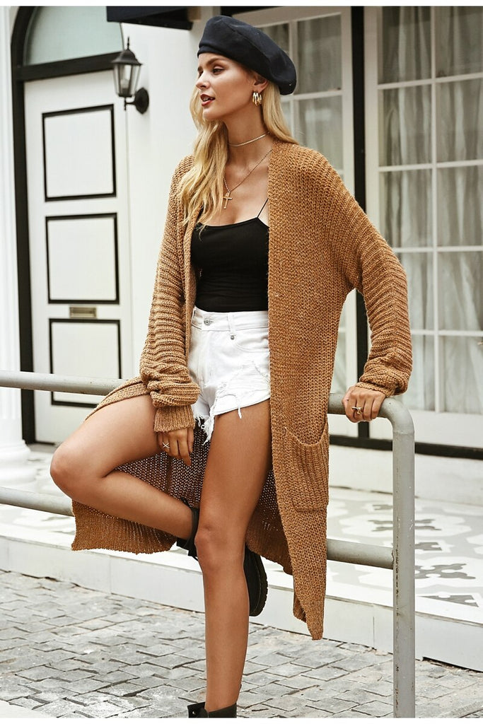 knitted long cardigan fashion ladies jumpers