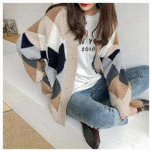 Casual Plaid V-Neck Cardigans Single Breasted Puff Sleeve Loose
