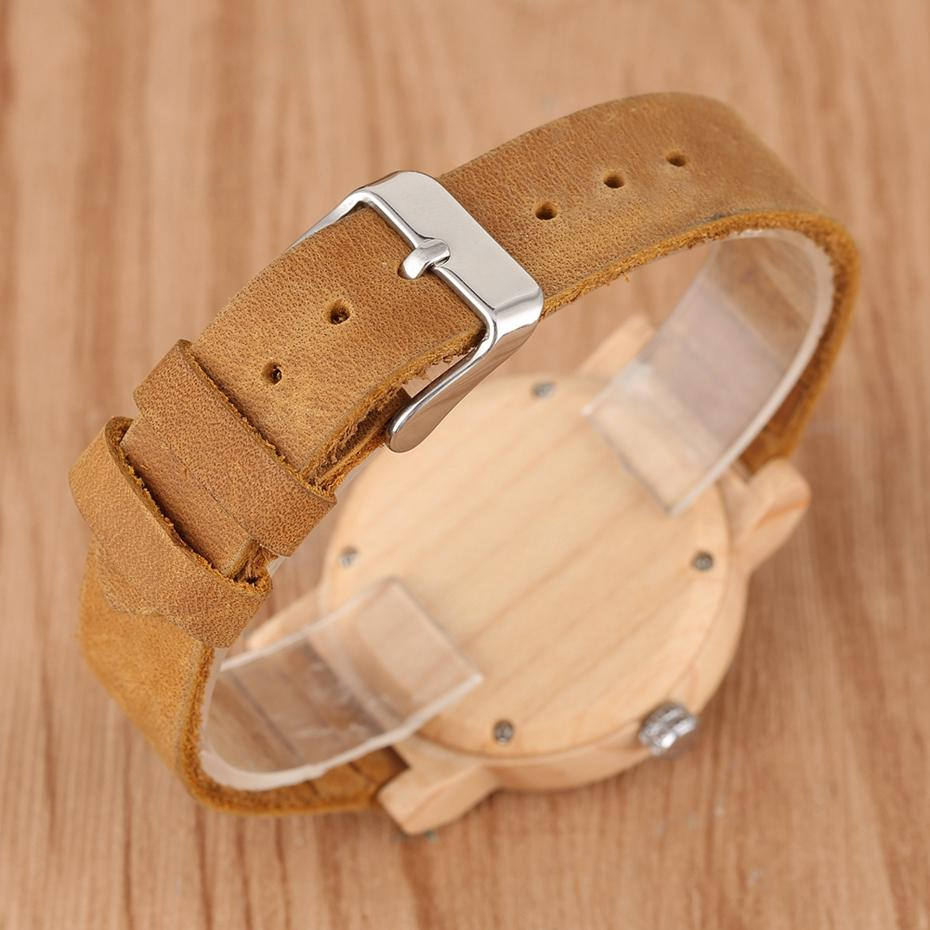 Maple Wood Watch Luminous Needle leather band