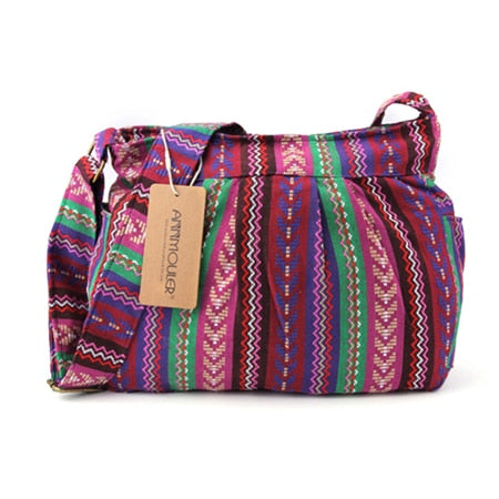 Bag Quality Crossbody Large Capacity Tribal Bag Multi-pockets Cotton Purse Bohemian Style