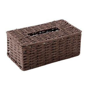 Vintage Rattan Tissue Storage Container Box