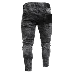 Mens Ripped Mid-waist Jeans High Street Trousers