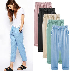 Cotton Linen Pants Elastic high Waist  Ankle Length Loose  pants