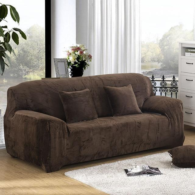 Solid Color Plush Thicken Elastic Sofa Cover