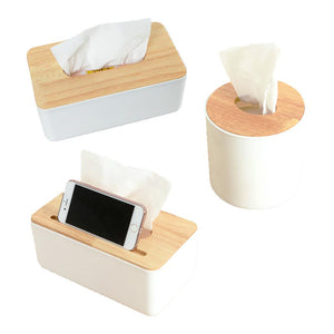 Wooden Cover Paper Plastic Tissue Box