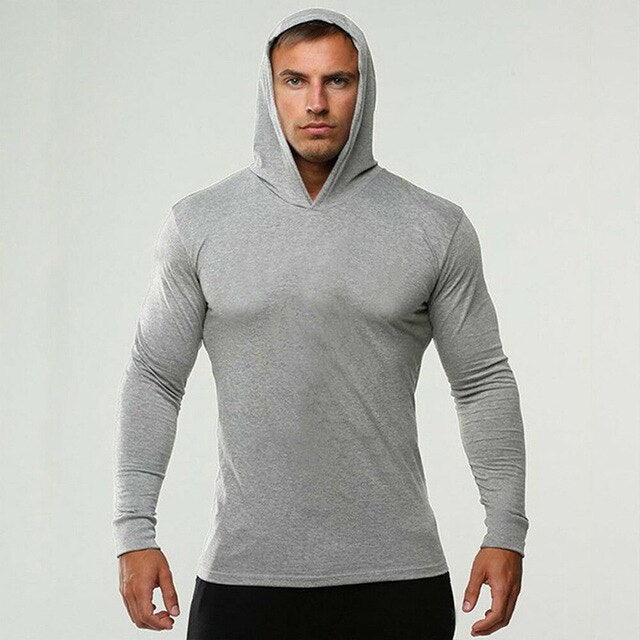 Long Sleeve T shirt Hooded Man Sportswear Cotton Slim Fit Gym T-Shirt