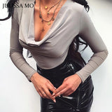 Black V Neck Sexy Long Sleeve Skinny Bodysuit