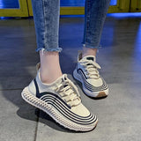 Casual Shoes Female Flats Vulcanized Canvas Stretch Fabric Sneakers