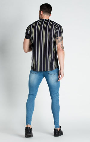 Casual Men T-shirt Stripe Streetwear