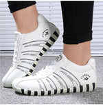 Sports woman Fashion Striped Lace up Running Casual shoes