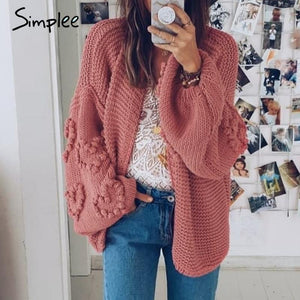 Loose women cardigans Oversized lantern sleeve heart crochet jumper