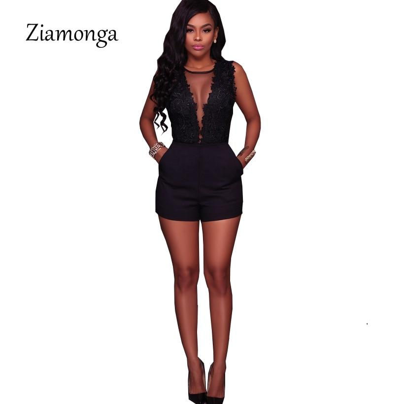 Sexy Black Lace Mesh Romper Backless Embroidery Bodysuit