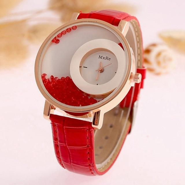 Brand Leather Quartz Watch Fashion Bracelet Rhinestone Wristwatch