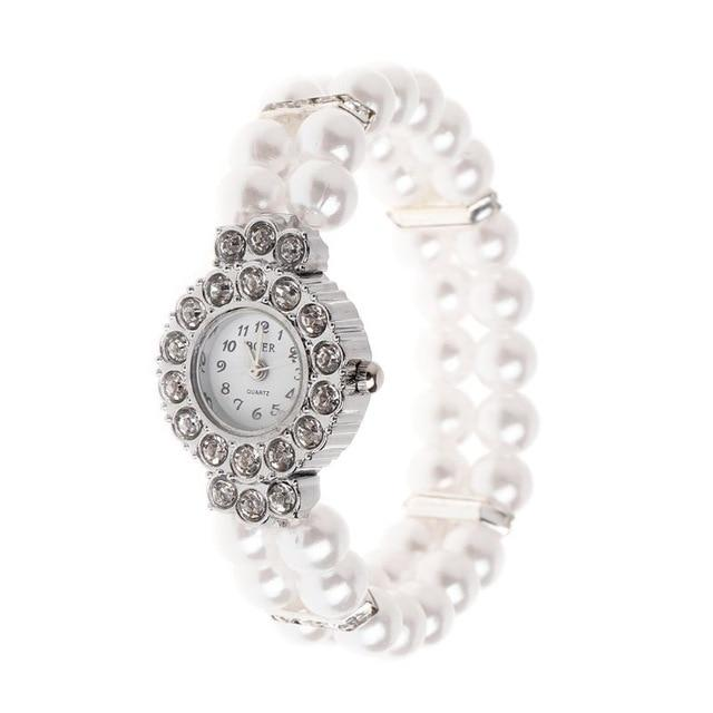 Simulated Pearl Rhinestone Elegant Wrist Band Bracelet Watch