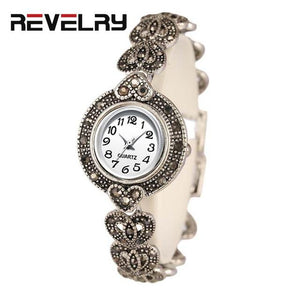 Watch Fashion Antique Silver Bright Black Crystal Vintage Bracelet Watch
