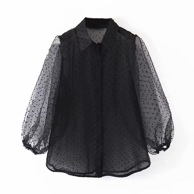 Dot Embroidery Chic Top Casual Turn Down Collar Shirt