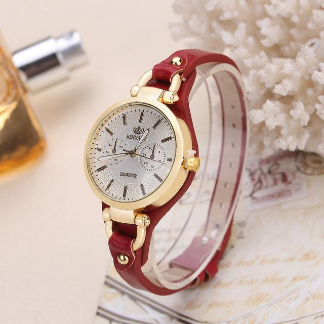 Fashion Casual Leather quartz rose gold Watch bracelet watch