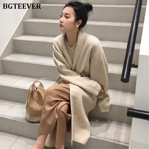 Knitted Sweater Long Sleeve Female Jumper Cardigan
