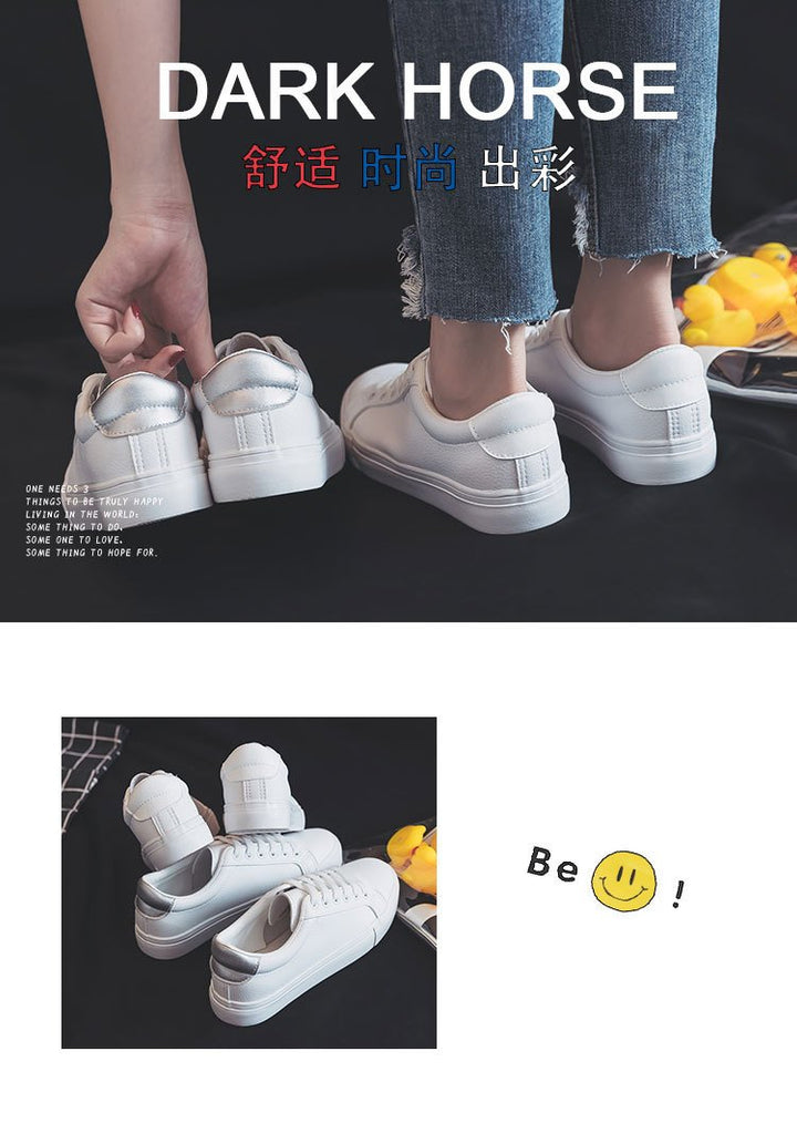 Casual Classic Solid Color PU Leather Casual White Sneakers