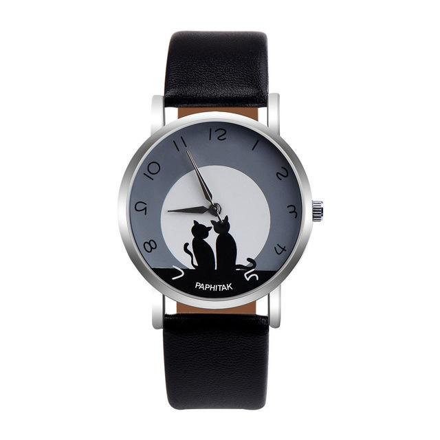 Pretty Cute Cat Pattern Cat Faux Leather Analog Quartz Watch
