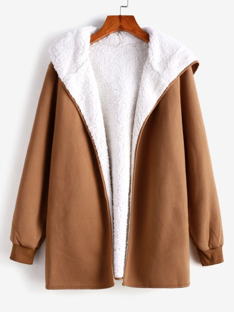 Fur Lining Hooded Coat Long Sleeve Solid Color Pockets