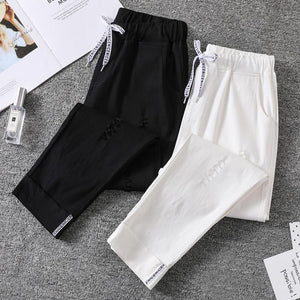Ripped  Pants Ankle Length Elasticity Fashion Harem Pants