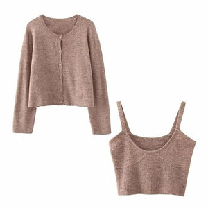 solid khaki cardigan knitted sweater Casual two pieces set