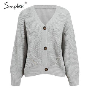Sexy v-neck knitted women cardigan Casual solid button bat sleeve