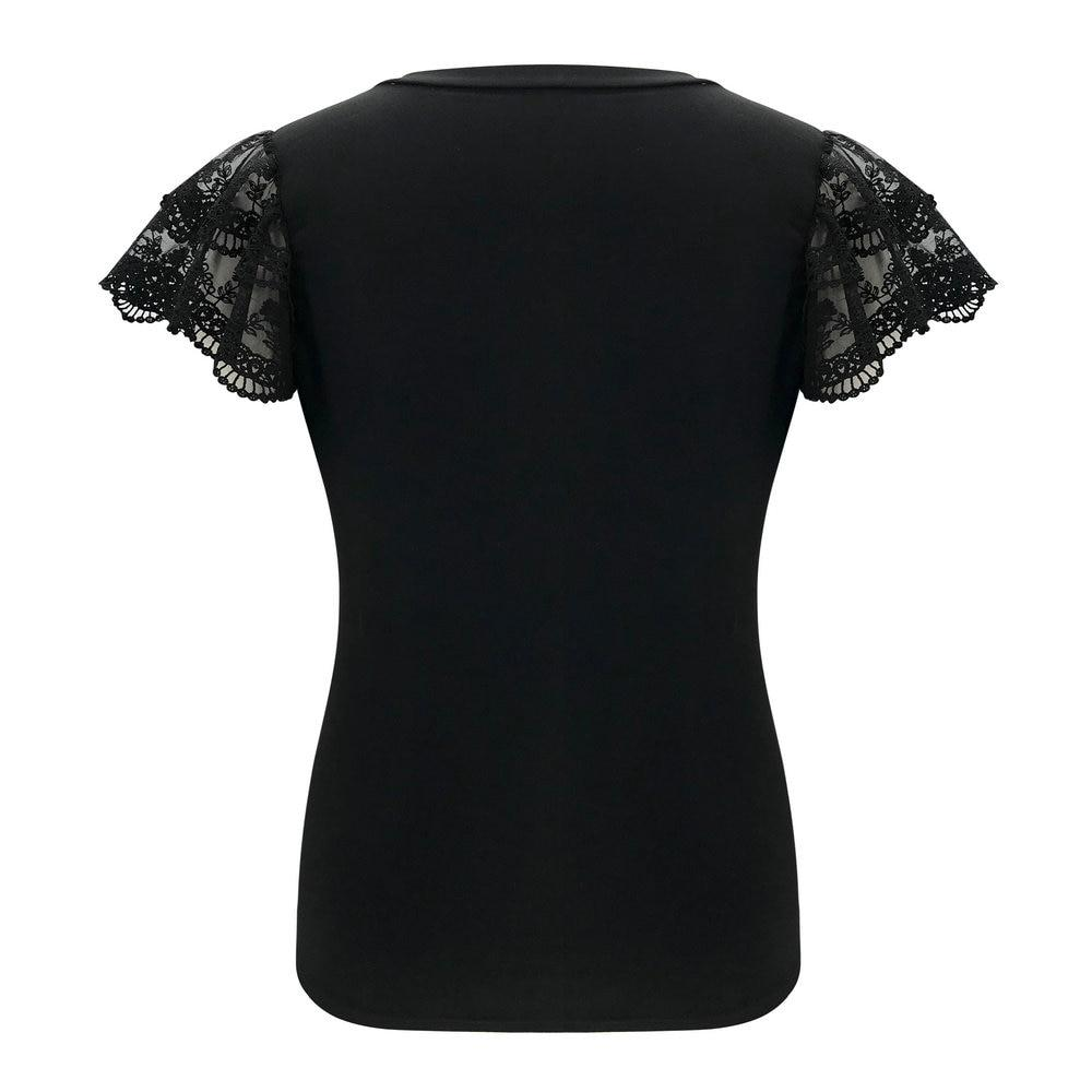 Sexy Embroidery Lace Short Sleeve Shirt