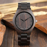 Retro Wood Watches for Men Clock Casual Light Ebony Wood Quartz
