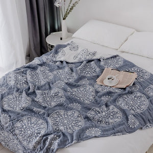 100% Cotton Muslin Blanket Bed Sofa Travel Breathable Chic Mandala Style