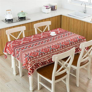 Y1 Bohemian Style Print Decorative Linen Tablecloth