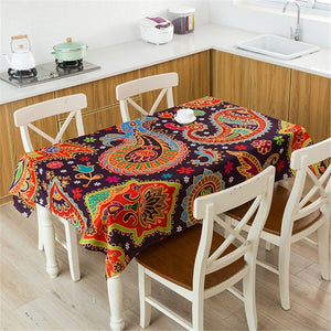 Y2 Bohemian Style Print Decorative Linen Tablecloth